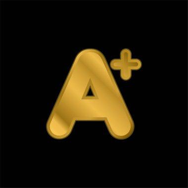 A+ Mark gold plated metalic icon or logo vector stock vector