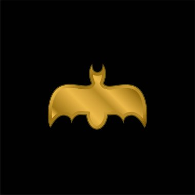 Bat With Open Wings gold plated metalic icon or logo vector stock vector