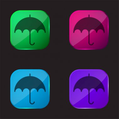 Black Umbrella four color glass button icon stock vector