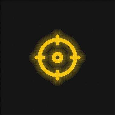 Aim yellow glowing neon icon stock vector