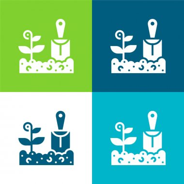 Agriculture Flat four color minimal icon set stock vector
