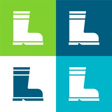 Boot Flat four color minimal icon set stock vector