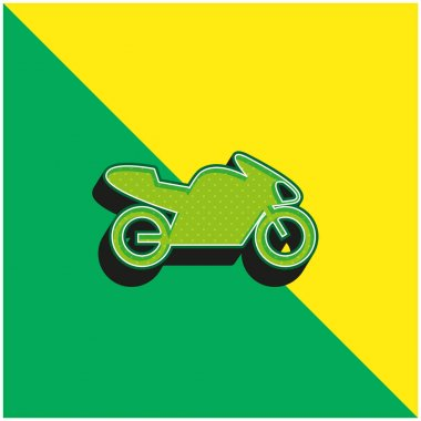 Bike With Motor, IOS 7 Interface Symbol Green and yellow modern 3d vector icon logo