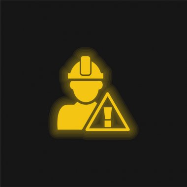 Attention Signal And Construction Worker yellow glowing neon icon stock vector