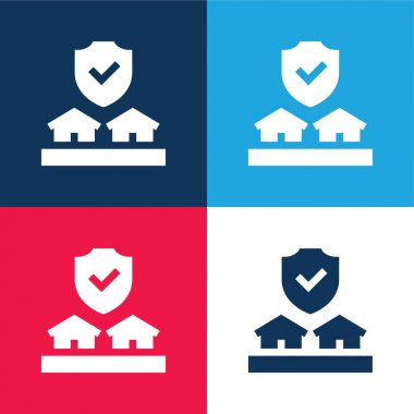 Auction blue and red four color minimal icon set stock vector