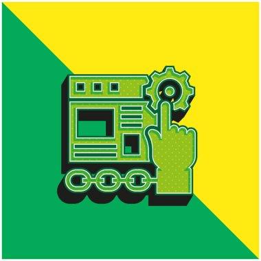 Application Green and yellow modern 3d vector icon logo stock vector