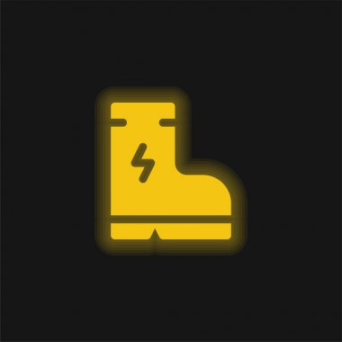 Boot yellow glowing neon icon stock vector