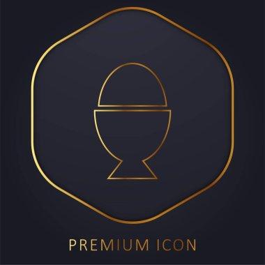 Boiled Egg golden line premium logo or icon stock vector