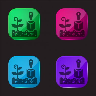 Agriculture four color glass button icon stock vector