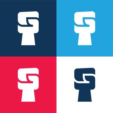 Black Power blue and red four color minimal icon set stock vector