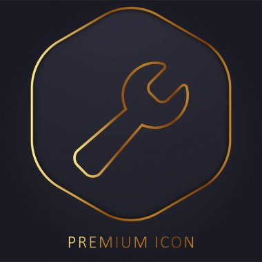 Black Wrench golden line premium logo or icon stock vector