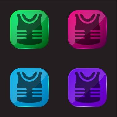 Armor four color glass button icon stock vector