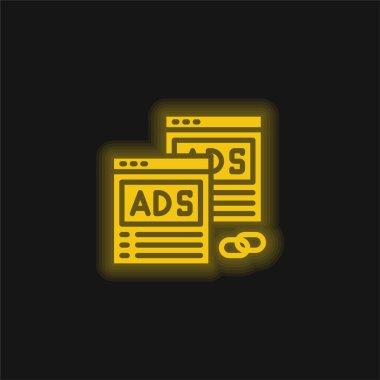 Advertising yellow glowing neon icon stock vector