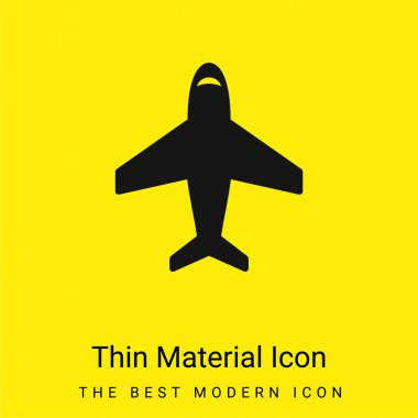 Airplane In Vertical Ascending Position minimal bright yellow material icon stock vector