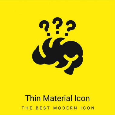 Brain minimal bright yellow material icon stock vector