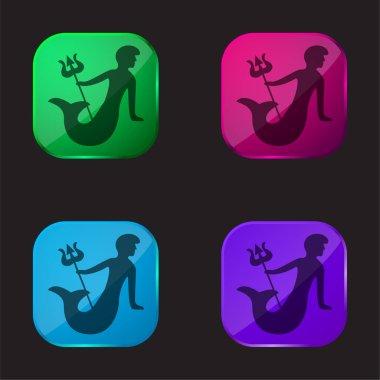 Aquarius Astrological Sign Symbol four color glass button icon stock vector