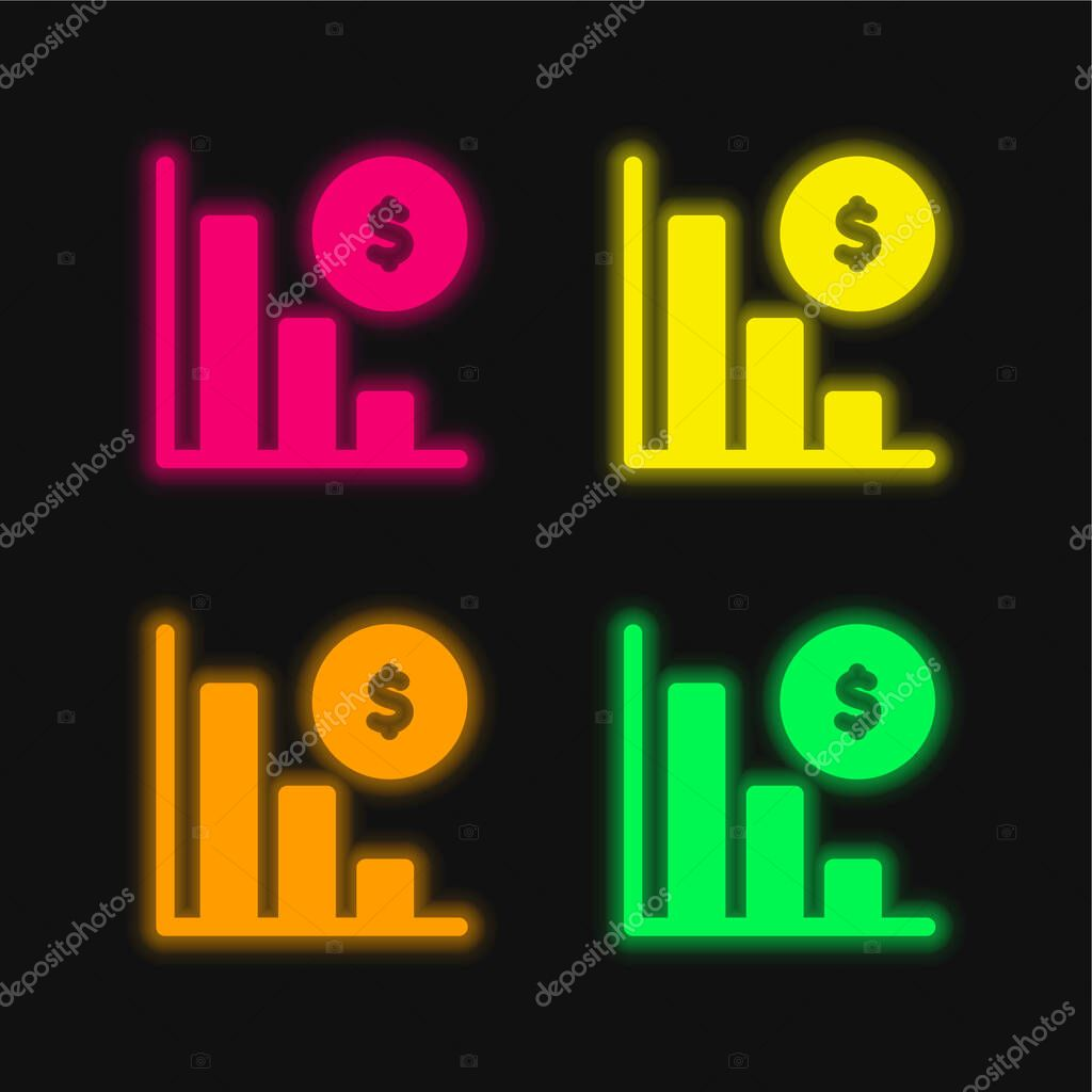 Bankruptcy four color glowing neon vector icon stock vector