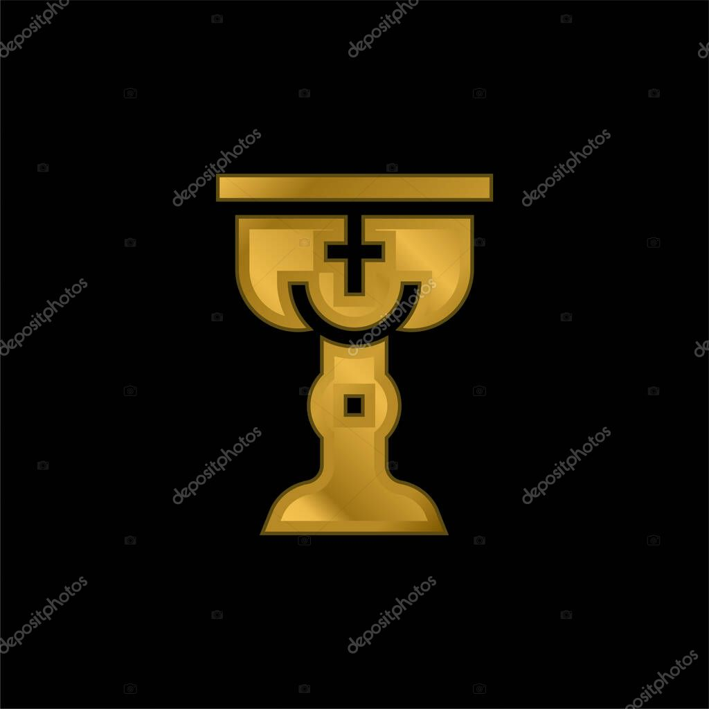 Baptism gold plated metalic icon or logo vector stock vector