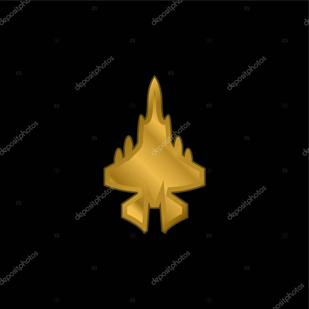 Army Airplane gold plated metalic icon or logo vector stock vector