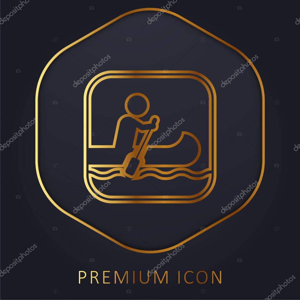 Segno di canottaggio linea dorata logo premium o icona