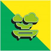 Bonsai Grünes und gelbes modernes 3D-Vektor-Symbol-Logo