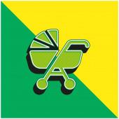 Baby Stroller Zelená a žlutá moderní 3D vektorové logo ikony