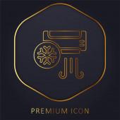 Klimaanlage goldene Linie Premium-Logo oder Symbol