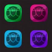 Rovnátka čtyři barvy skleněné tlačítko ikony