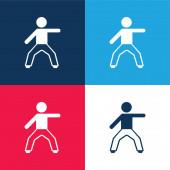 Boy Stretching Bal kar kék és piros négy szín minimális ikon készlet