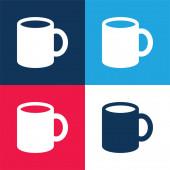 Big Cup blau und rot vier Farben minimales Symbol-Set