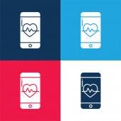 App modrá a červená čtyři barvy minimální ikona nastavena