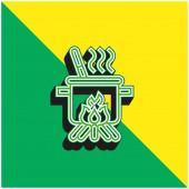 Vařící zelené a žluté moderní 3D vektorové logo