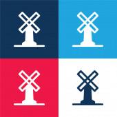 Velký větrný mlýn modrá a červená čtyři barvy minimální ikona sada