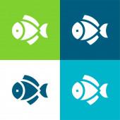 Big Fish Flat vier Farben minimales Symbol-Set