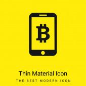 Bitcoin-Symbol auf dem Handy-Bildschirm minimal hellgelbes Material-Symbol