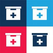 Koupelna První pomoc Kit box modrá a červená čtyři barvy minimální ikona sada
