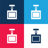 Bottle blue and red four color minimal icon set