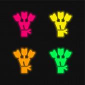 Kytice čtyři barvy zářící neonový vektor ikona