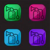 Brustpumpe vier Farben Glasknopf-Symbol