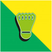 Badmintom Cock Zelená a žlutá moderní 3D vektorové ikony logo