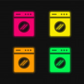 Große Waschmaschine vier Farben leuchtenden Neon-Vektor-Symbol