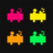 Junge im Bad mit einer Ente vier Farben leuchtenden Neon-Vektor-Symbol
