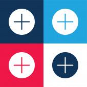 Sčítání Tlačítko modré a červené čtyři barvy minimální ikona nastavena