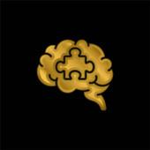 Mozkové pozlacené kovové ikony nebo vektor loga