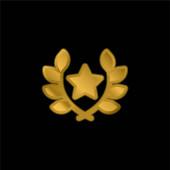 Arany bevonatú fém ikon vagy logó vektor