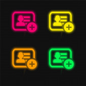 Add Business Card Symbol négy színű izzó neon vektor ikon