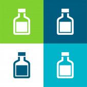 Flaschenflasche vier Farben minimales Symbol-Set