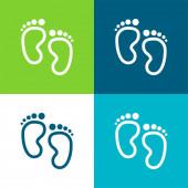 Baba lábnyomok Lapos négy szín minimális ikon készlet