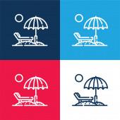 Strand blau und rot vier Farben minimales Symbol-Set