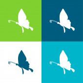 Black Butterfly Shape From Side View Flat čtyři barvy minimální ikona nastavena